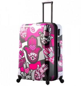 Mia Toro M1314/3-L Hamsa Love cestovní kufr TSA 74 cm 98-123 l Monochrome