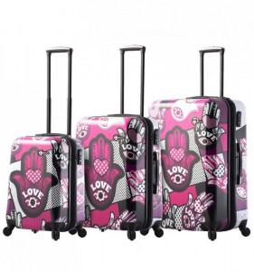 Mia Toro M1314/3 Hamsa Love sada cestovních kufrů TSA 55/64/74 cm Monochrome