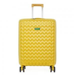 United Colors of Benetton Skořepinový cestovní kufr KNIT Medium 60 l – žlutá