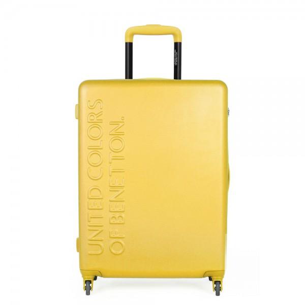 United Colors of Benetton Skořepinový cestovní kufr UCB Medium 60 l – žlutá