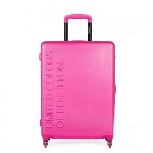 United Colors of Benetton Skořepinový cestovní kufr UCB Medium 60 l – růžová