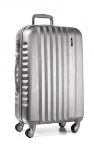 March Skořepinový cestovní kufr L Ribbon SE 97,5 l – stříbrná