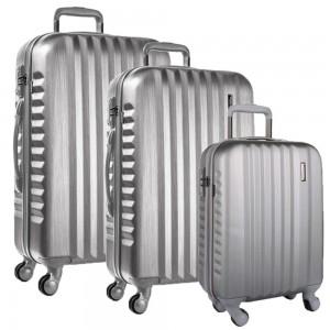 March Sada cestovních kufrů Ribbon SE S + M + L, stříbrná