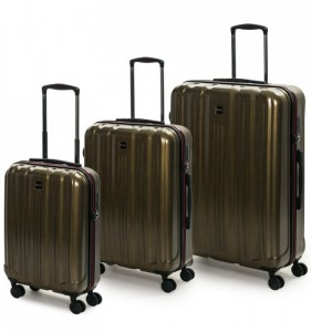 ROCK TR-0201 Graphite S/M/L sada 3 cestovných kufrov TSA 55/65/74 cm Gold