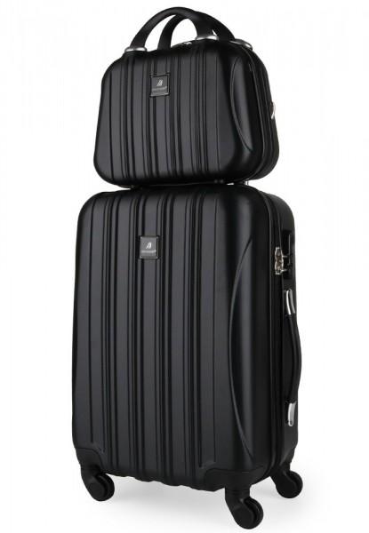 Madisson Sada kabinového kufru a kosmetické tašky 80002 – černá