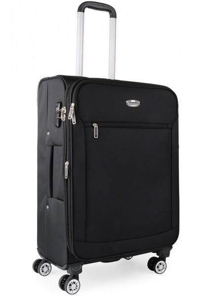 Snowball Látkový cestovní kufr M 95303 – černá