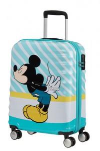 American Tourister Kabinový cestovní kufr Wavebreaker Disney Spinner 31C 36 l – Mickey Blue Kiss