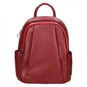 Dámský kožený batoh Delami Nevola – tmavo červená