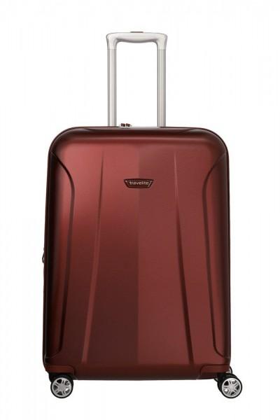 Travelite Skořepinový cestovní kufr Elbe 4w M Red 73/84 l