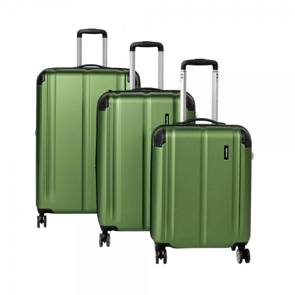 Travelite Sada cestovních kufrů City 4w S + M + L Green