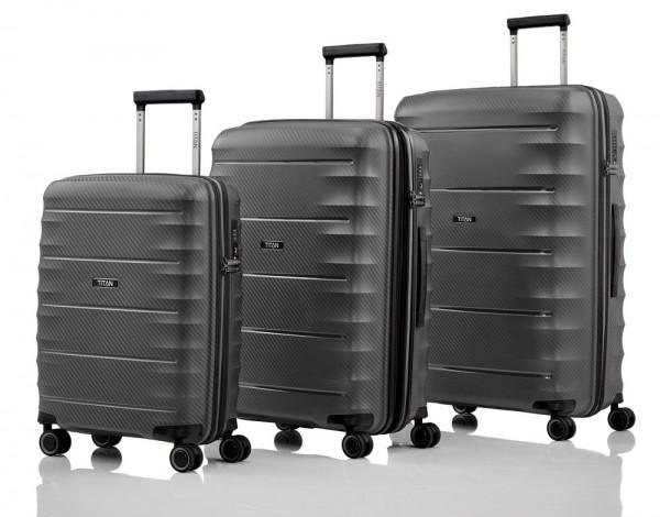 Titan Sada cestovních kufrů Highlight 4w S + M + L Anthracite