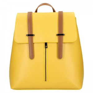 Dámský kožený batoh Delami Beathag – žluto-hnědá