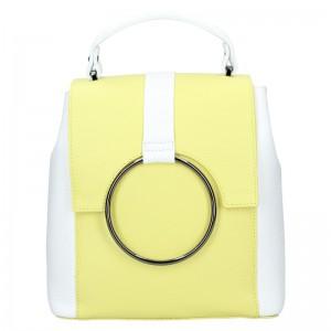 Dámský kožený batoh Vera Pelle Cecilie – žluto-bílá