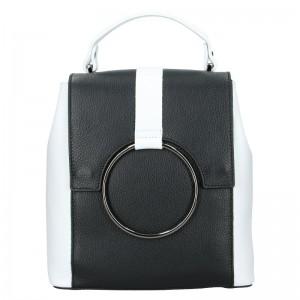 Dámský kožený batoh Vera Pelle Cecilie – černo-bílá