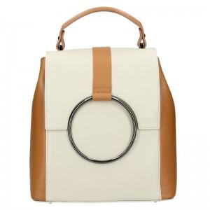 Dámský kožený batoh Vera Pelle Cecilie – béžovo-hnědá