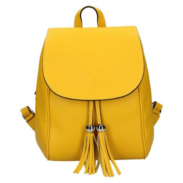 Dámský kožený batoh Vera Pelle Anita – žlutá