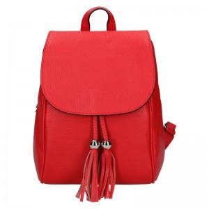 Dámský kožený batoh Vera Pelle Anita – červená
