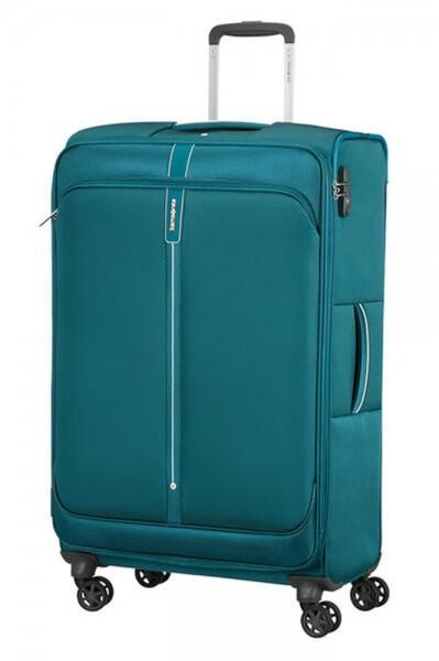 Samsonite Látkový cestovní kufr Popsoda Spinner 78 cm 105/112,5 l – tyrkysová