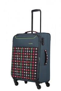 Travelite Látkový cestovní kufr Argon M Checked Pattern 57/67 l
