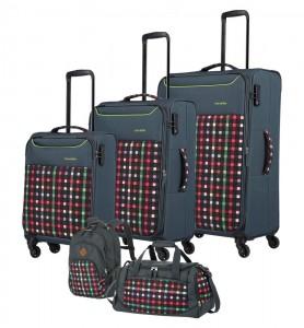 Travelite Sada cestovních zavazadel Argon S + M + L + Batoh + cestovní taška Checked Pattern