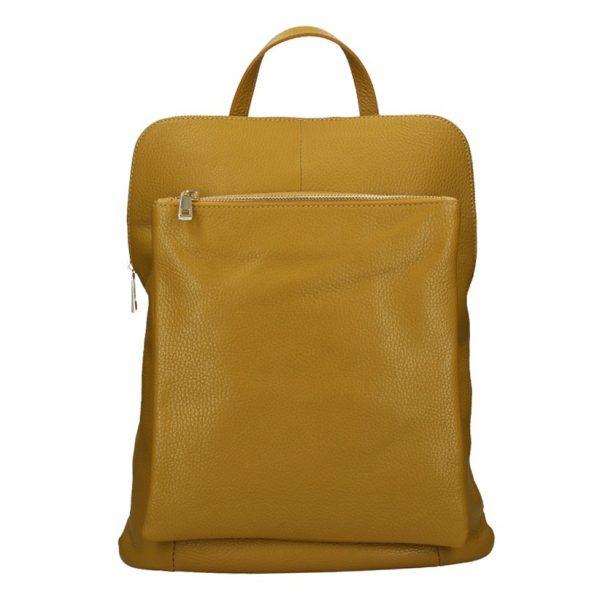 Kožený dámský batoh Unidax Marion – hořčicová