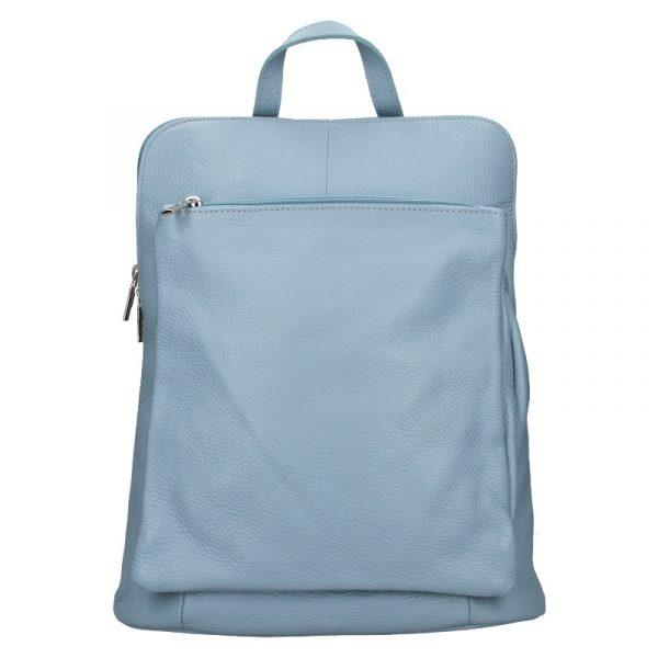 Kožený dámský batoh Unidax Marion – světle modrá