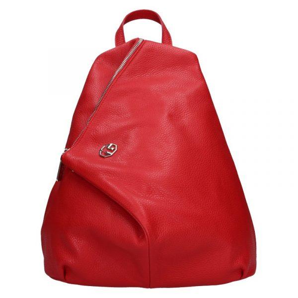 Dámský kožený batoh Marina Galanti Sofia – červená