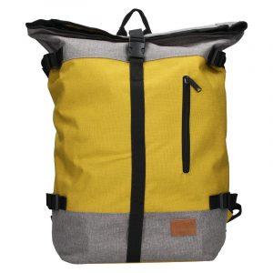 Velký trendy batoh New Rebels Marco – šedo-žlutá
