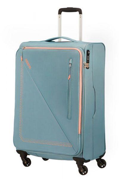American Tourister Látkový cestovní kufr Lite Volt Spinner 70 l – GREY/PEACH