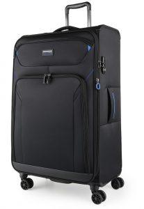 March Látkový cestovní kufr Black Forest L 93/105 l – černá