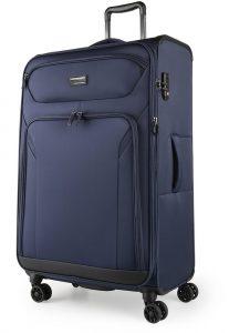 March Látkový cestovní kufr Black Forest L 93/105 l – modrá