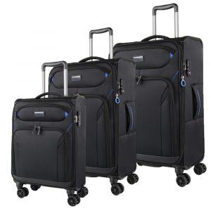 March Sada cestovních kufrů Black Forest S + M + L, černá