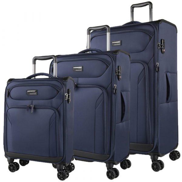 March Sada cestovních kufrů Black Forest S + M + L, modrá