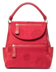 Desigual červený batoh s klopou Back Alkalina Positano
