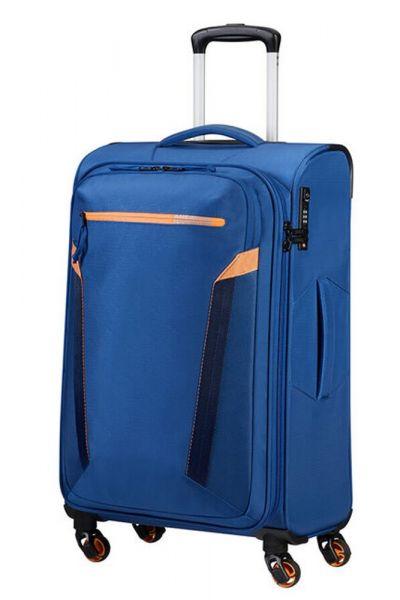 American Tourister Látkový cestovní kufr AT Eco Spin M 64 l – modrá