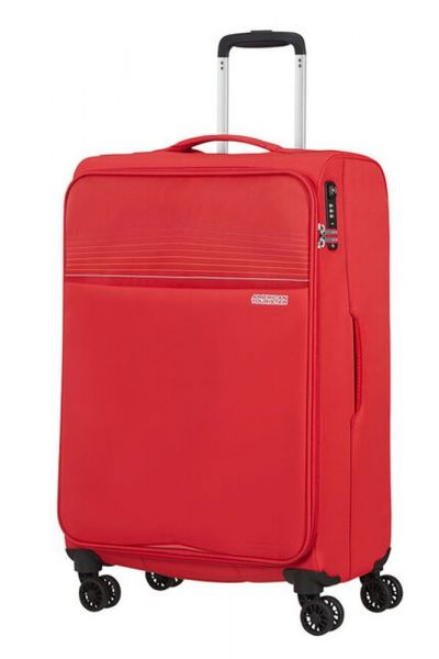 American Tourister Látkový cestovní kufr Lite Ray M 75 l – červená