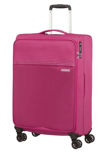 American Tourister Látkový cestovní kufr Lite Ray M 75 l – růžová