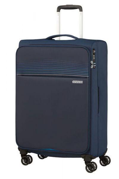 American Tourister Látkový cestovní kufr Lite Ray M 75 l – tmavě modrá