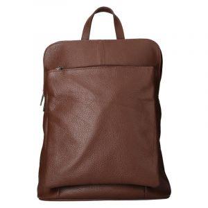 Kožený dámský batoh Unidax Marion – tmavě hnědá