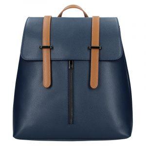 Dámský kožený batoh Delami Beathag – modro-hnědá