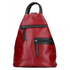 Dámský kožený batoh Vera Pelle Boliva – vínovo-černá