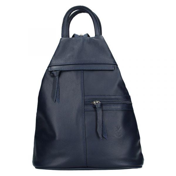 Dámský kožený batoh Vera Pelle Boliva – tmavě modrá