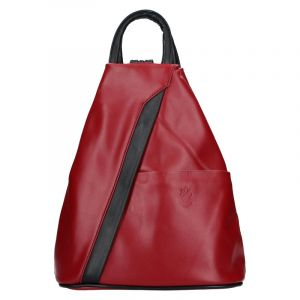 Dámský kožený batoh Vera Pelle Capita – vínovo-černá