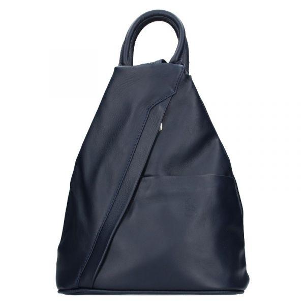 Dámský kožený batoh Vera Pelle Capita – tmavě modrá