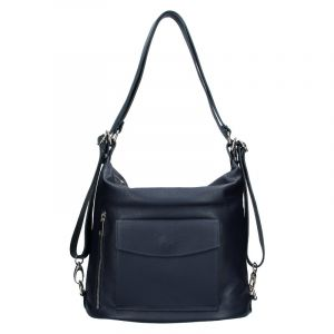 Dámská kožená batůžko kabelka Vera Pelle Emilis – modrá