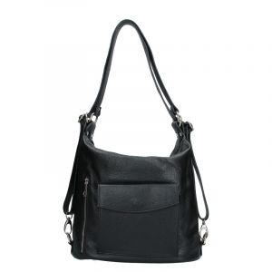 Dámská kožená batůžko kabelka Vera Pelle Emilis – černá