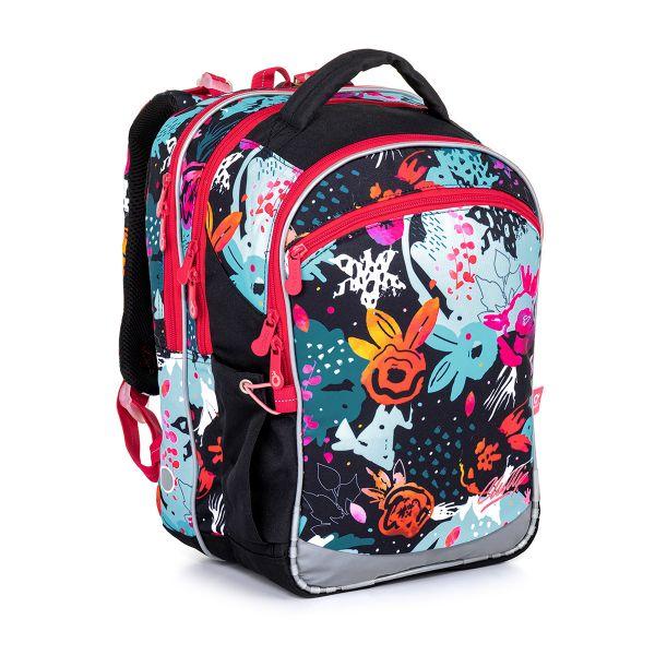 Černý školní batoh s barevnými kytičkami Topgal COCO 21006 G