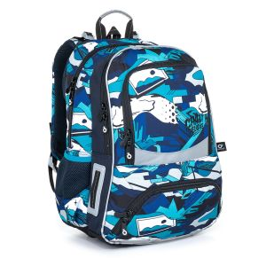 Školní batoh modro bílý v graffiti stylu Topgal NIKI 21022 B