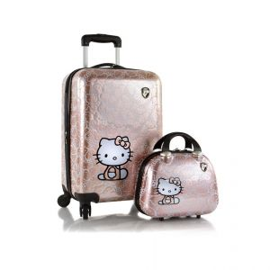 Heys Dětská sada kufru a kosmetického kufříku Hello Kitty Metallic