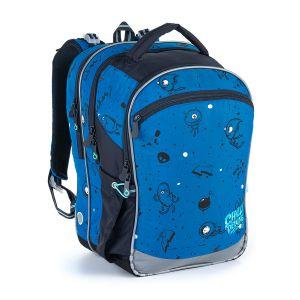 Modrý tříkomorový batoh s příšerkami na první stupeň ZŠ Topgal COCO 21017 B